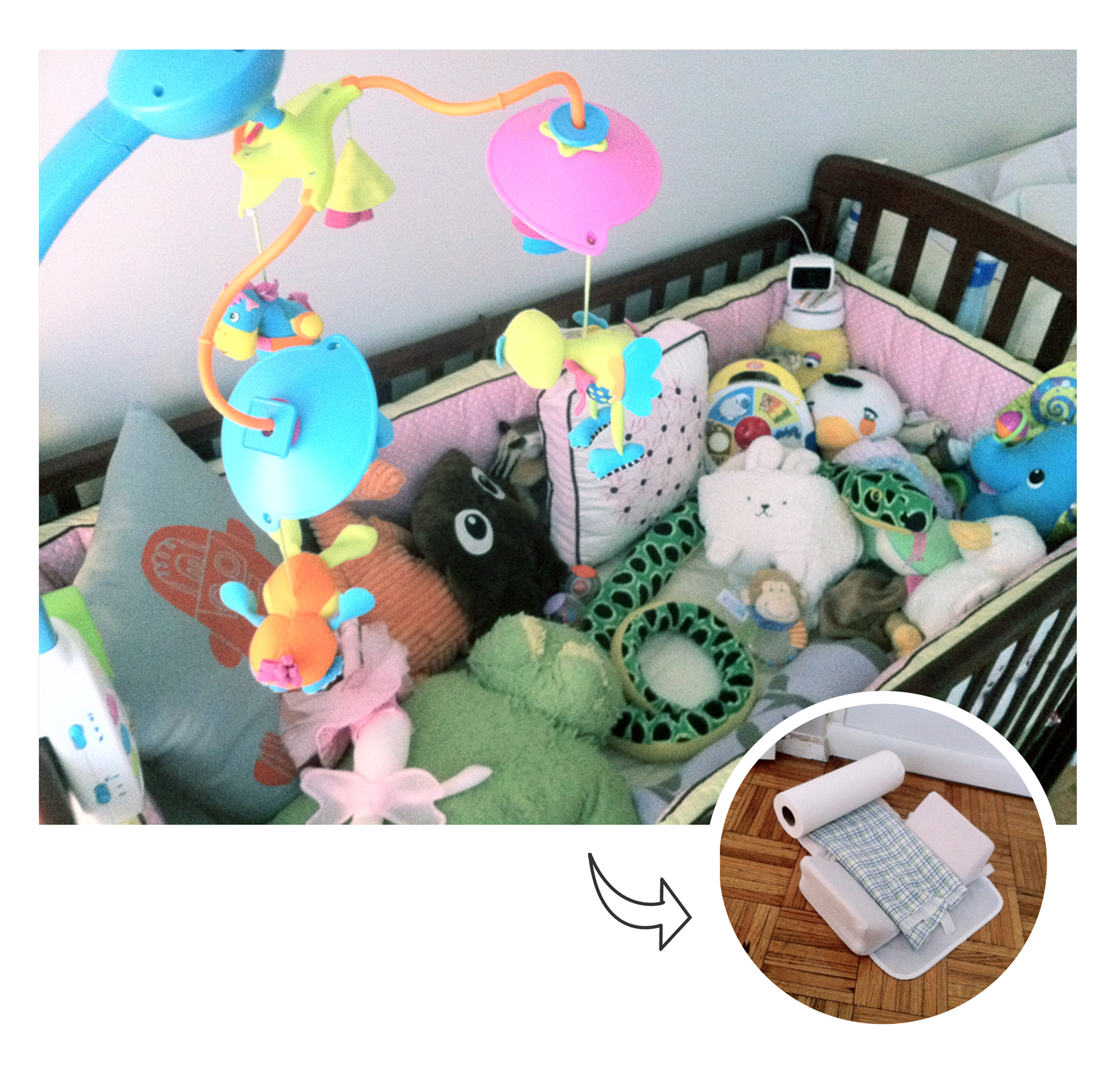 Crib pillows babies - Crib Overflowing With Stuffed Animals Puffy Pillows And Assorted Gadgets Forces Baby To Sleep On Floor